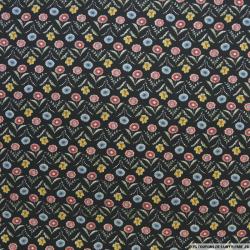Microfibre imprimé petite fleur bleu, rouge et jaune fond noir