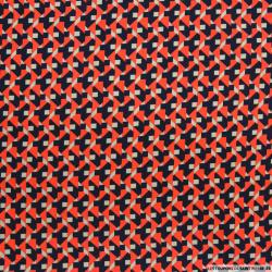 Microfibre imprimée graphique rouge et marine