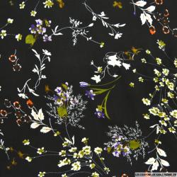 Microfibre imprimée fleur fond écru