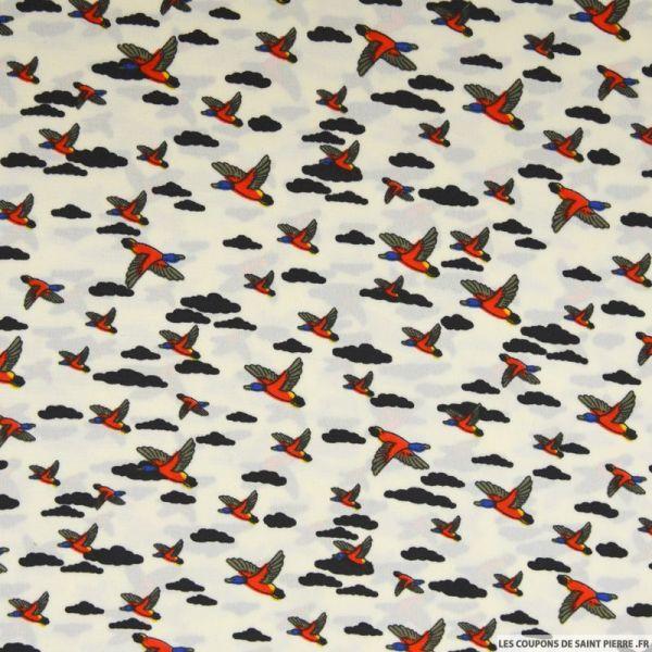 Microfibre imprimé canard sauvage fond écru