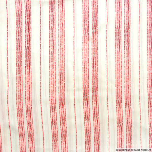 Viscose imprimée rayures rouge fils irisés argent