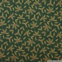 Coton imprimé houx de Noël doré fond vert