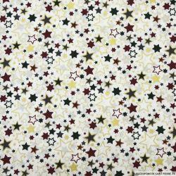 Coton imprimé galaxie étoile fond blanc