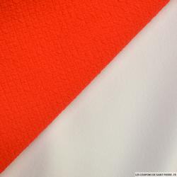 Jersey scuba gauffré tangerine et blanc