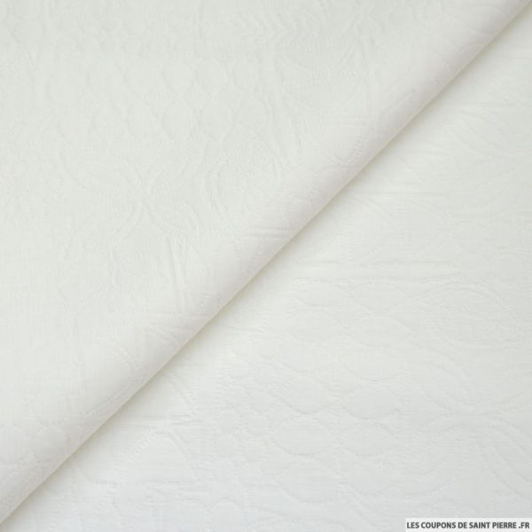 Brocart polycoton blanc