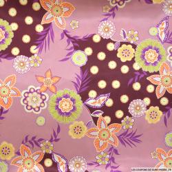 Satin polyester imprimé hippie fond rose