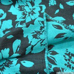 Jacquard laine mélangée bucolique turquoise fond noir