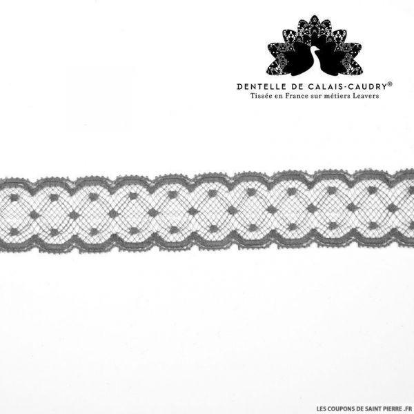 Ruban de Dentelle de calais® gris plumetis au mètre