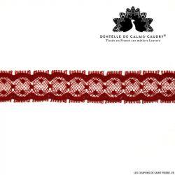 Ruban de Dentelle de calais® rouge fine plumetis au mètre