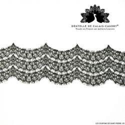 Ruban Dentelle de calais® noir festonnée écailles au mètre
