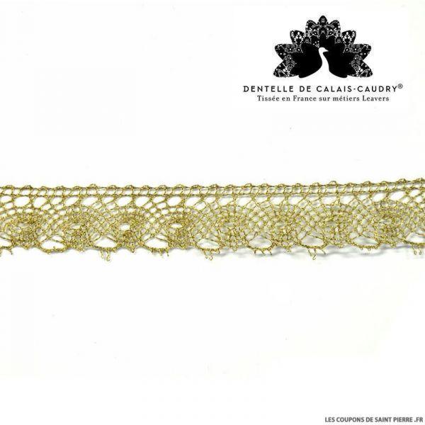 Ruban de Dentelle de calais® graphique dorée au mètre