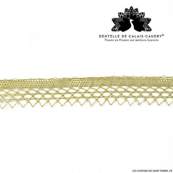 Ruban de Dentelle de calais® triangle dorée au mètre