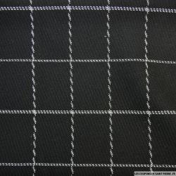 100% laine à carreaux sergé blanc fond noir