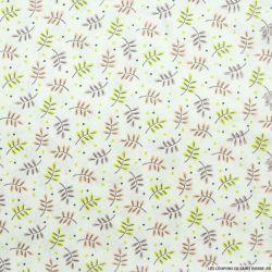 Coton imprimé feuillage vert et corail fond écru