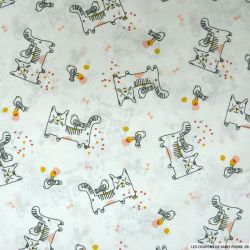 Coton imprimé chat et oiseau fond blanc