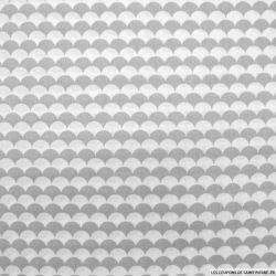Coton imprimé vague fond gris et blanc