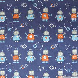 Coton imprimé robots fond bleu