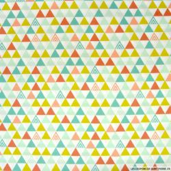 Coton imprimé triangle indien turquoise et vert anis