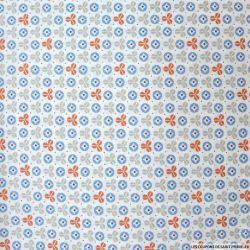 Coton imprimé toupie bleu et rouille