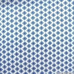 Coton imprimé motif indien bleu fond blanc