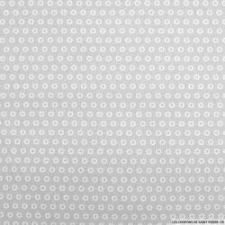 Coton imprimé marguerite blanche fond gris