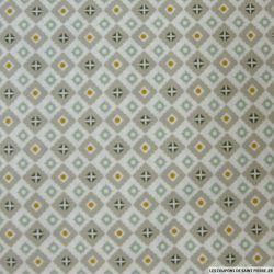 Coton imprimé azulejos gris, verte et moutarde fond blanc