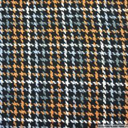 Tweed coton quadrillage camel et gris fond noir