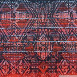 Jacquard polycoton navajo rouge et noir