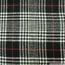 Tweed laine mélangée carreaux blanc sur fond noir
