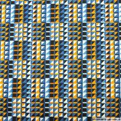 Satin de coton élasthane imprimé graphique cube ocre et bleu