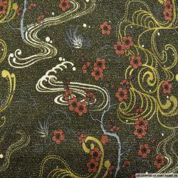 Maille tricot polyester imprimée fleurs rayures fils irisés fond vert bouteille