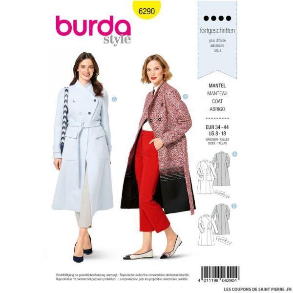 Patron Burda n°9290 Manteau femme