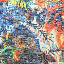 Maille tricot viscose imprimée Hawaï orange