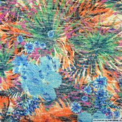 Maille tricot viscose imprimée Maurice bleu