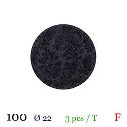 Tube 3 boutons noir à fleur Ø 22mm