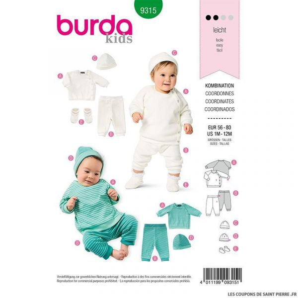 Patron Burda n°9315 Ensemble bébé