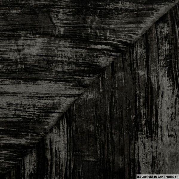 Velours froissé polyester noir