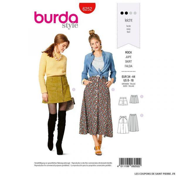 Patron Burda n°6252 Jupe