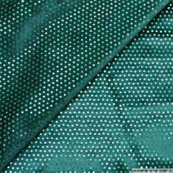 Jersey velours paillettes vert canard