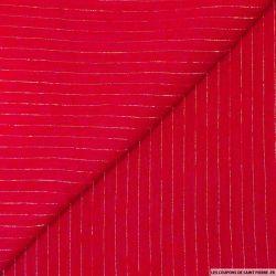 Crépon viscose rayé lurex argent fond rouge