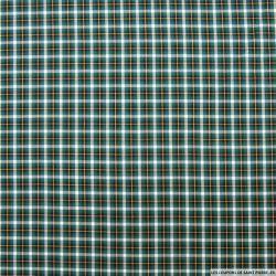 Coton chemise carreaux fin vert et ocre