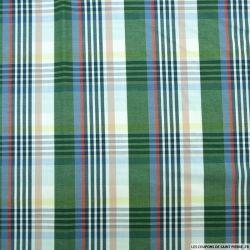 Coton chemise grands carreaux vert et bleu