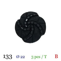 Tube 3 boutons noir perlé Ø 22mm