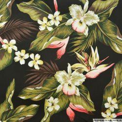 Gabardine de coton élasthane imprimé fleurs tropical