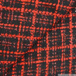Tweed polyester fantaisie rouge et noir