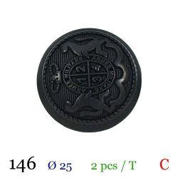 Tube 2 boutons noir Ø 25mm