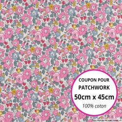 Coton liberty ® New Betsy Ann rose et canard - Coupon 50x45cm