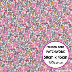 Coton liberty ® New Betsy Ann rose et canard - Coupon 50x45cm