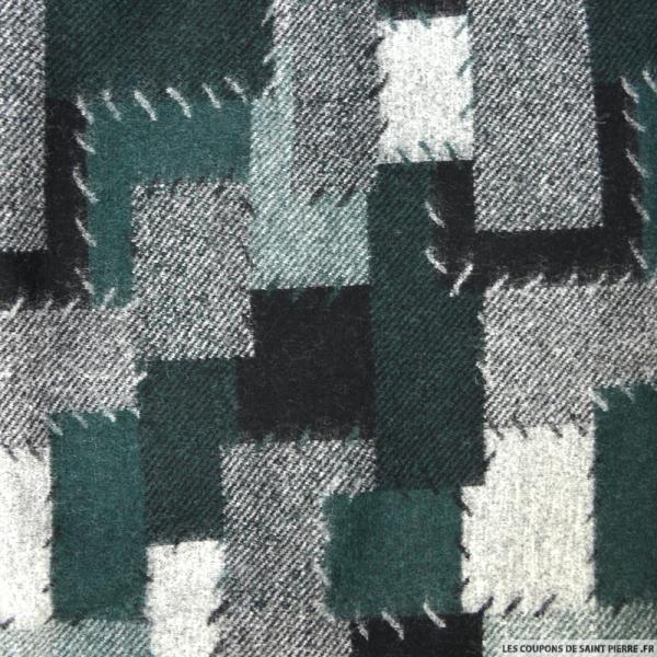 Laine patchwork vert et gris