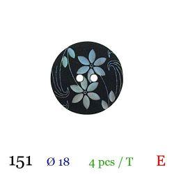 Tube 4 boutons noir à fleur blanche Ø 18mm